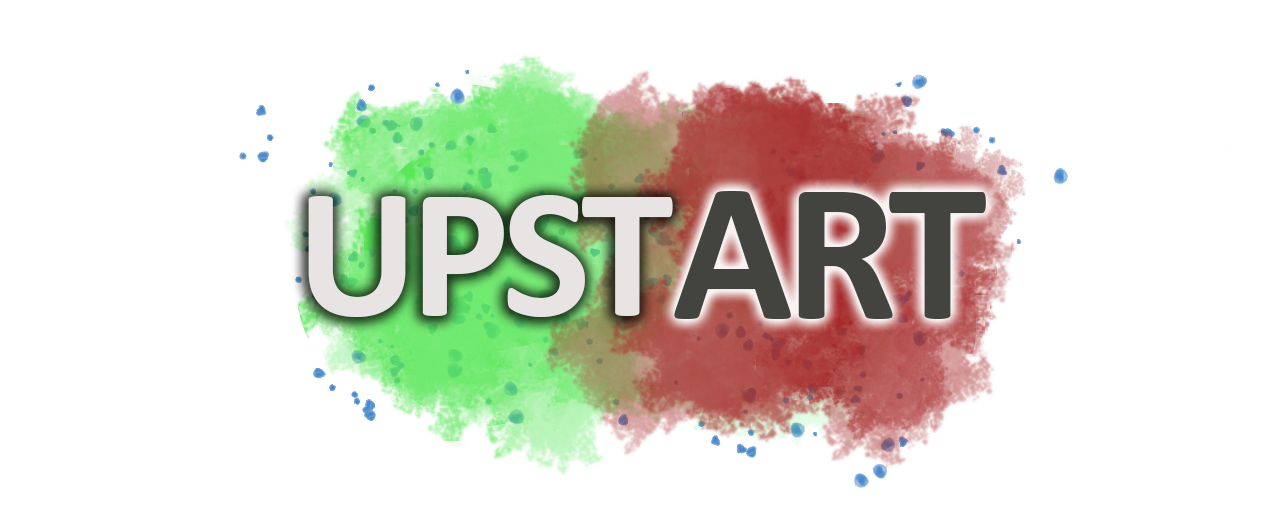 Upstart main logo using the vibrant red and green colours of County Mayo