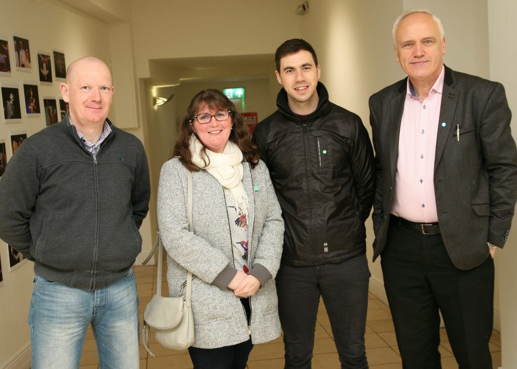 UPSTART 2018 launch, an initiative of Mayo County Council's Arts Service which supports opportunities for people with disabilities to develop arts projects in celebration of International Day of Persons with Disabilities, 3rd December, launched by Gaynor Seville, Acting Arts Officer with Mayo County Council at the Linenhall Arts Centre, Castlebar. From left to right Cyril Forde, Instructor H.S.E. Cathy Kennedy, Administration H.S.E., Con Murphy, The Uke and ME Project and Andy Neary, Manager, H.S.E. Rural Training Centre .