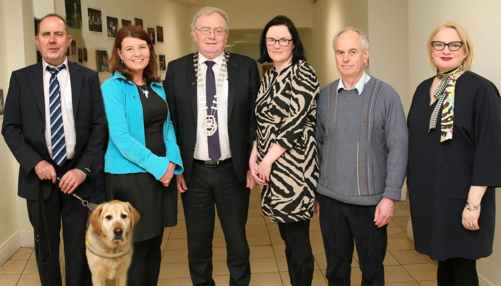 From left to right, Damian O'Connor, Disability Arts Coordinator Mayo County Council with guide dog Fanta, Orlagh Heverin, Assistant Arts Officer, CLLR Richard Finn, Cathaoirleach Mayo County Council, Anne Marie McGing, PPN Resource Worker, CLLR Joe McHale, Gaynor Seville, Acting Arts Officer, Mayo County Council.